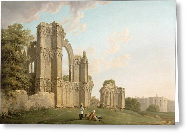 Dilapidated Paintings Greeting Cards - St Marys Abbey -York Greeting Card by Michael Rooker