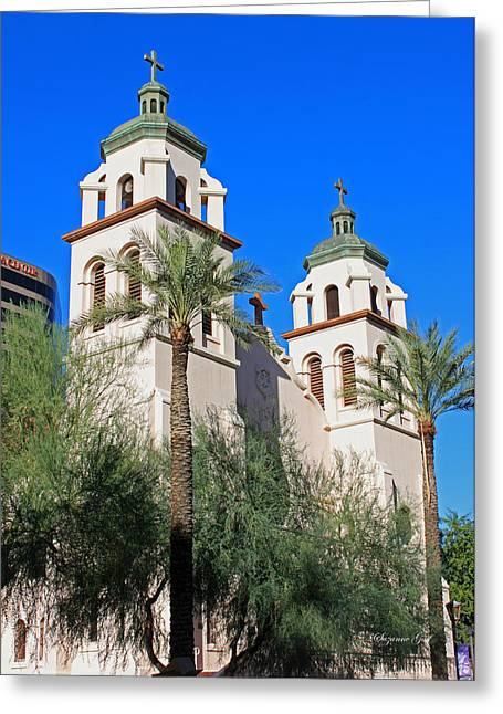 Catholic Mission Greeting Cards - St. Marys Basilica - Downtown Phoenix Greeting Card by Suzanne Gaff