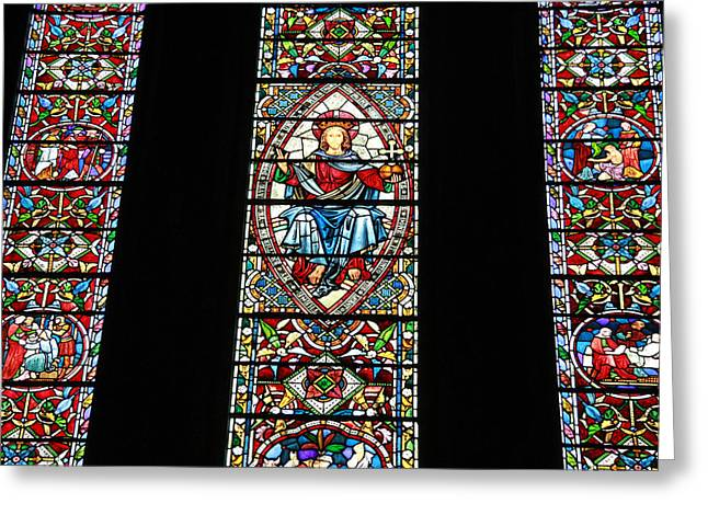 Stained Glass Ireland Greeting Cards - St. Marys Cathedral  Limerick  Ireland Greeting Card by Donna Quante