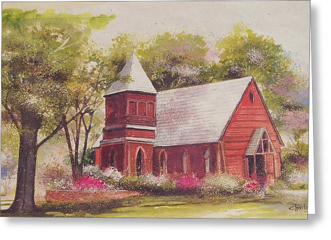 Charlotte Paintings Greeting Cards - St. Marys Chapel Greeting Card by Charles Roy Smith