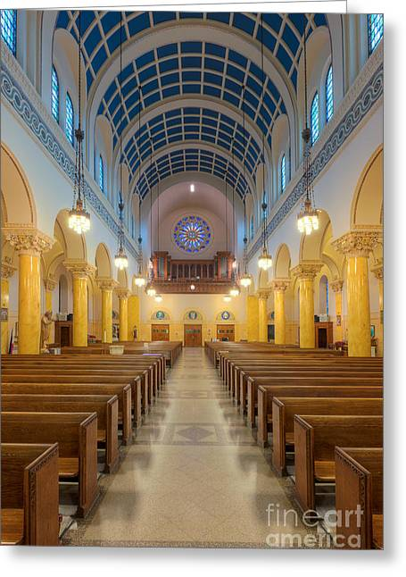 Catherine Wheel Greeting Cards - St. Marys Church III Greeting Card by Clarence Holmes