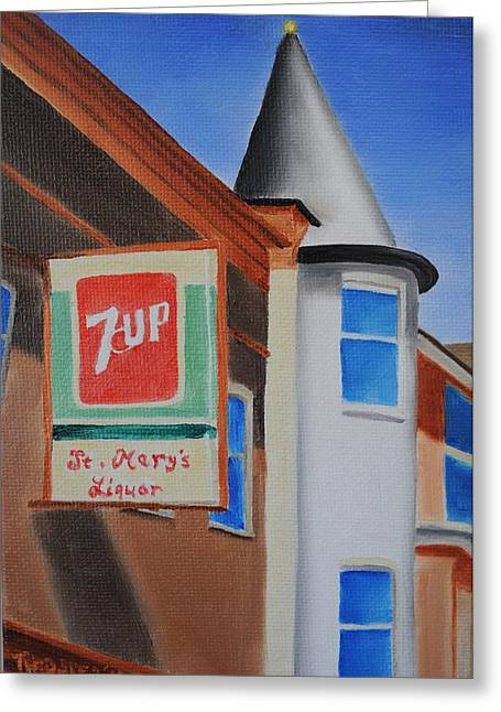 7up Sign Greeting Cards - St. Marys Liquor Greeting Card by Tim Webster
