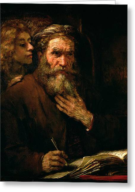 Old Man Greeting Cards - St Matthew and The Angel Greeting Card by Rembrandt Harmensz van Rijn