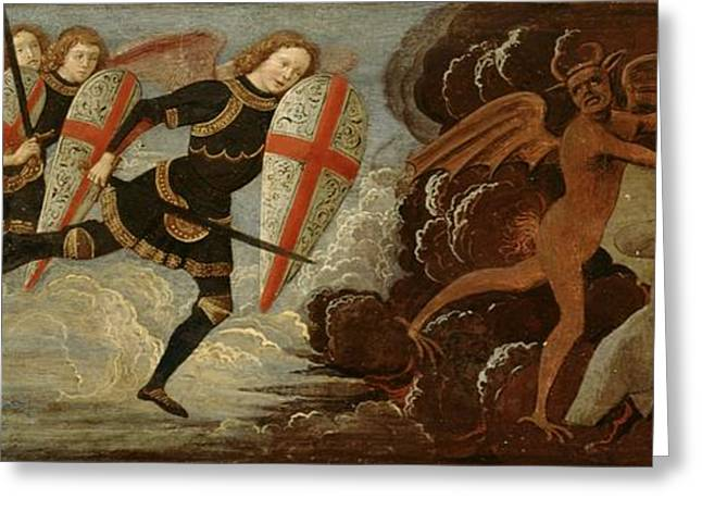 Lucifer Greeting Cards - St. Michael and the Angels at War with the Devil Greeting Card by Domenico Ghirlandaio