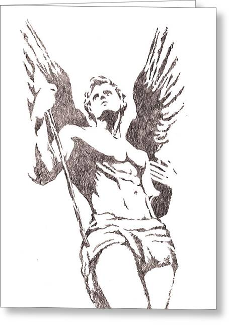 Archangel Drawings Greeting Cards - St Michael Archangel Greeting Card by Roberto Macedo Alves