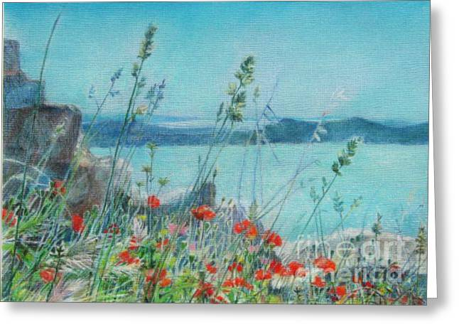 Seen Pastels Greeting Cards - St. Michael Croatia Greeting Card by Radchenko Julia