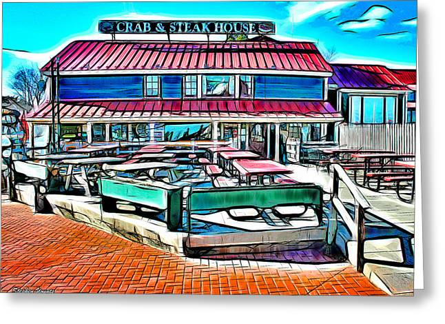 St. Michael Greeting Cards - St Michaels Crab and Steak House Greeting Card by Stephen Younts