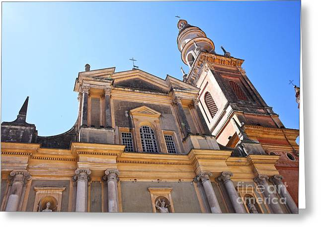 St Michel Church In Menton Greeting Card by Gualtiero Boffi