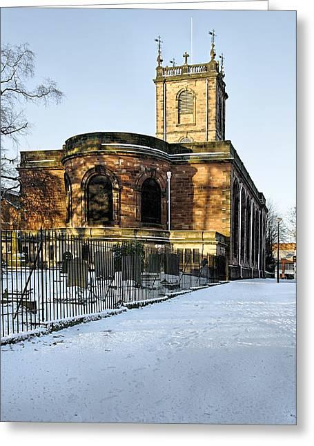 Burton Greeting Cards - St Modwens Church - Burton - in the Snow Greeting Card by Rod Johnson