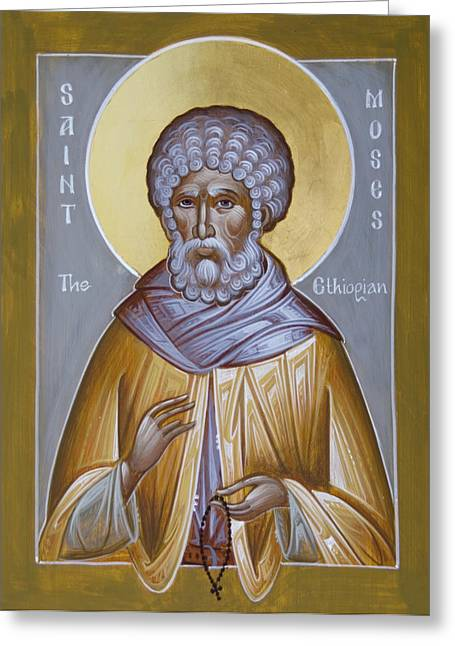 St Moses The Black Greeting Cards - St Moses the Ethiopian Greeting Card by Julia Bridget Hayes