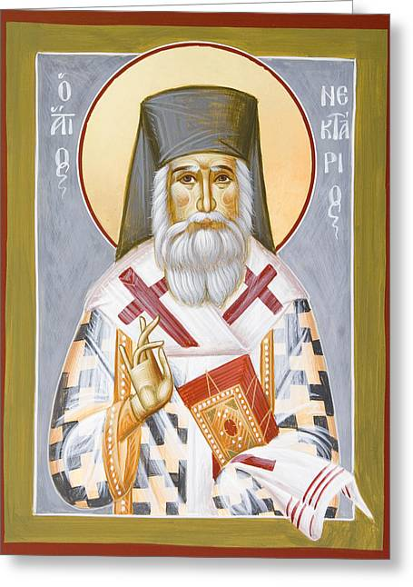 St Nektarios Greeting Card by Julia Bridget Hayes