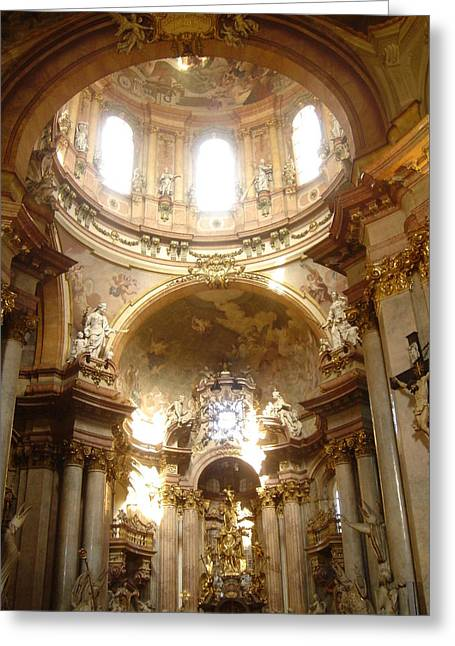 Catherdral Greeting Cards - St. Nicholas Church in Prague Greeting Card by John Julio