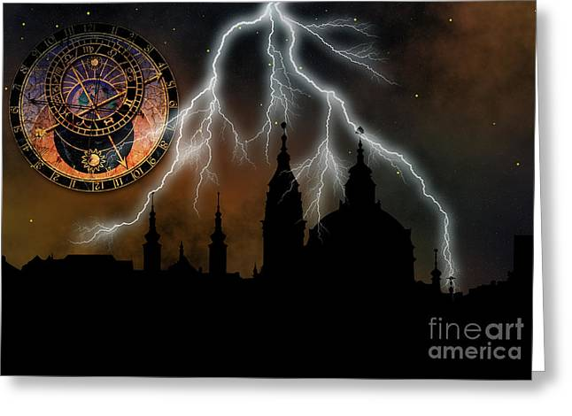 Townscape Digital Art Greeting Cards - St Nikolas church - Prague Greeting Card by Michal Boubin