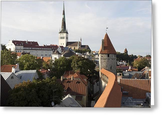 Tallinn Greeting Cards - St, Olaf Church In Old Town Greeting Card by Keenpress