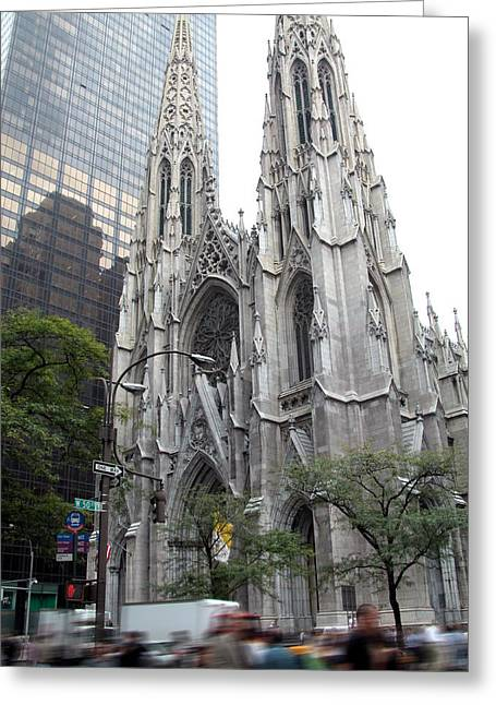 Fifth Avenue Greeting Cards - St Patricks Cathedral - Manhattan Greeting Card by Frank Mari