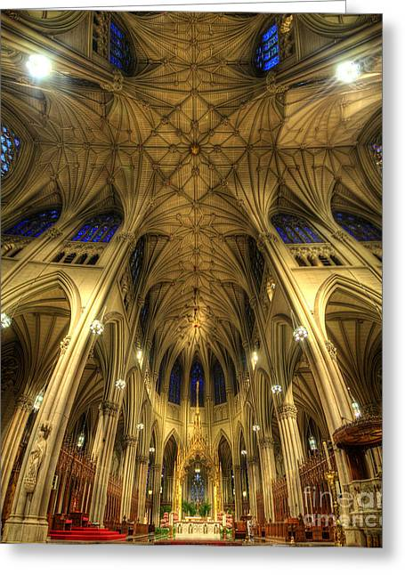 Art For Church Greeting Cards - St Patricks Cathedral - New York Greeting Card by Yhun Suarez