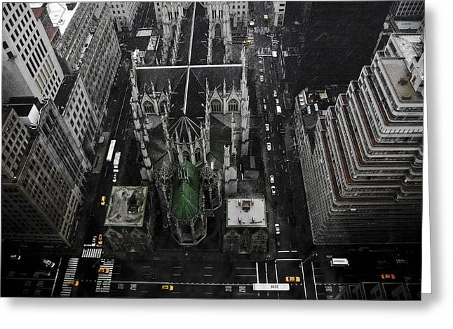 Nyc Pyrography Greeting Cards - St. Patricks Cathedral Greeting Card by Marcel Krasner
