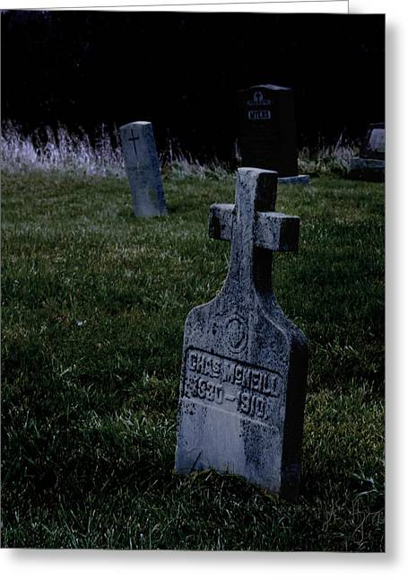 Moody Dusk Framed Prints Greeting Cards - St Patricks Cemetery Circa 1860 Greeting Card by John Herzog