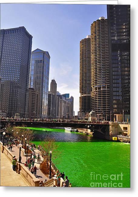 Patrick Willis Greeting Cards - St Patricks Day Chicago Greeting Card by Dejan Jovanovic