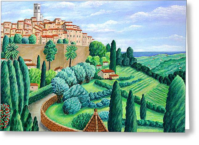 Hill Top Village Greeting Cards - St. Paul de Vence Greeting Card by Ronald Haber