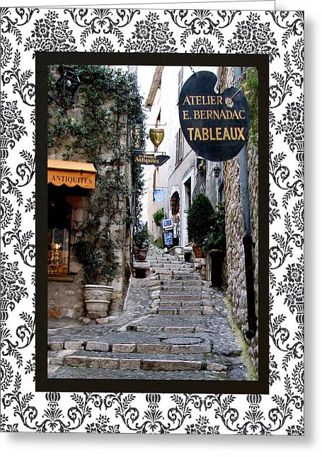 Provence Village Greeting Cards - St. Paul de Vence with border Greeting Card by Carla Parris