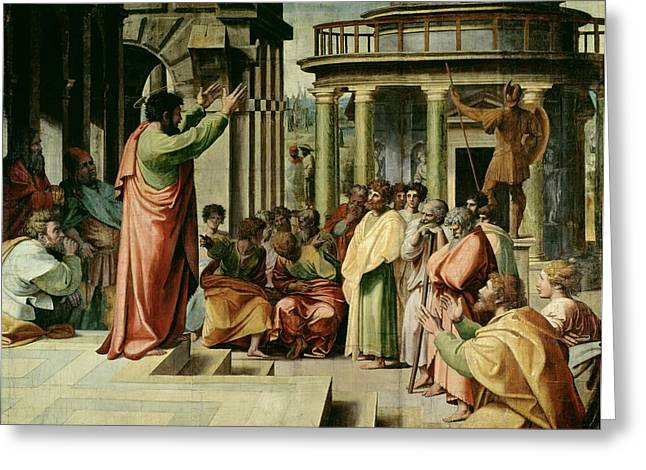 Town Square Greeting Cards - St. Paul Preaching at Athens  Greeting Card by Raphael