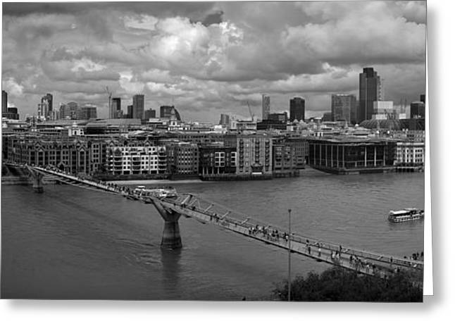 Tower Crane Greeting Cards - St Pauls and the City panorama BW Greeting Card by Gary Eason