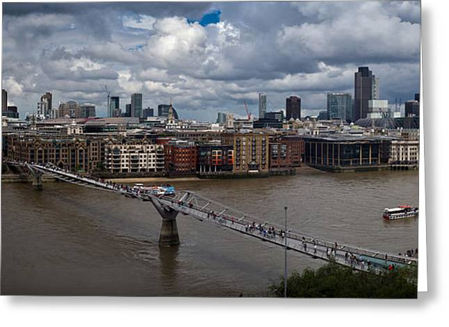 Downturn Greeting Cards - St Pauls and the City panorama Greeting Card by Gary Eason
