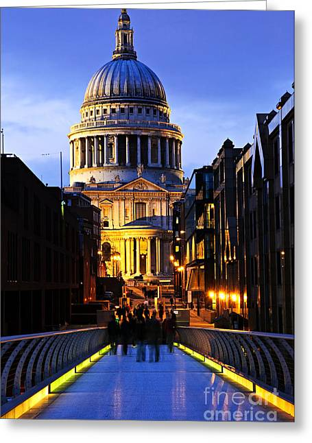 Dome Light Greeting Cards - St. Pauls Cathedral from Millennium Bridge Greeting Card by Elena Elisseeva