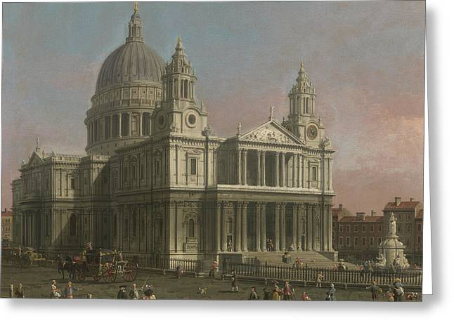 Saint Christopher Paintings Greeting Cards - St. Pauls Cathedral Greeting Card by Giovanni Antonio Canaletto