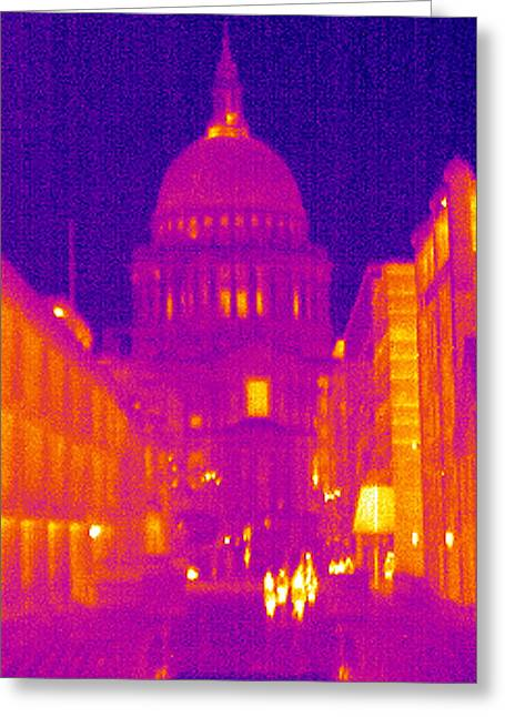 Thermography Greeting Cards - St Pauls Cathedral, Uk, Thermogram Greeting Card by Tony Mcconnell