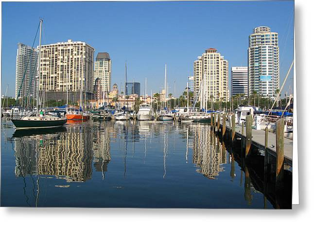 St Petersburg Florida Greeting Cards - St. Pete Skyline Greeting Card by Sue Taylor