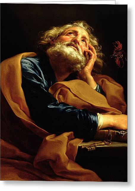 Pensive Greeting Cards - St Peter Greeting Card by Pompeo Girolamo Batoni