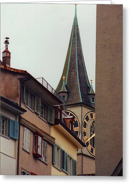 Large Clock Greeting Cards - St. Peter Tower Zurich Switzerland Greeting Card by Susanne Van Hulst