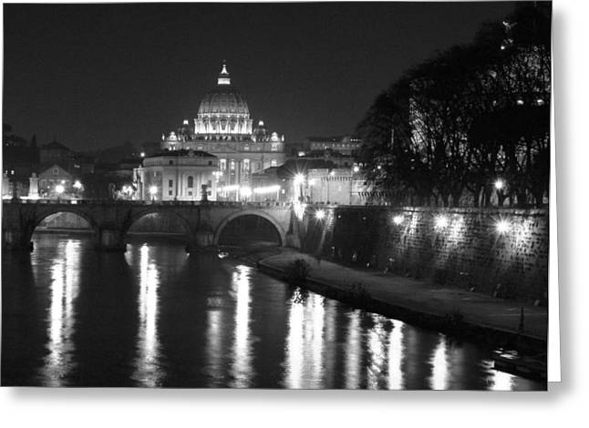 Dome Light Greeting Cards - St. Peters at Night Greeting Card by Donna Corless