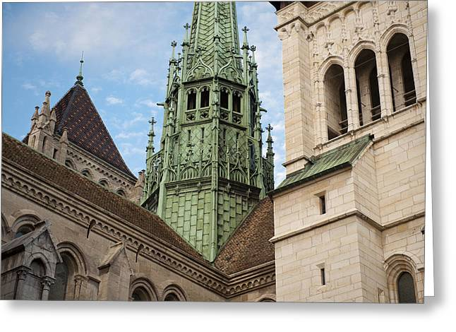 Swiss Culture Greeting Cards - St. Peters Cathedral Of Geneve Greeting Card by Greg Dale