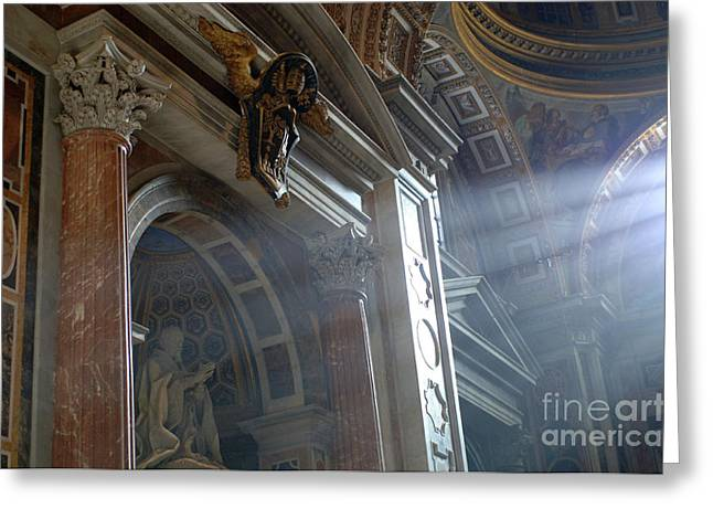 Michaelangelo Greeting Cards - St Peters Light Greeting Card by Bob Christopher