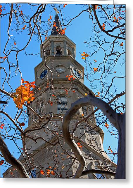 St. Philips Church Steeple - Charleston Sc Greeting Card by Suzanne Gaff