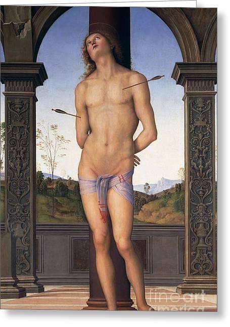 Martyr Greeting Cards - St Sebastian Greeting Card by Pietro Perugino