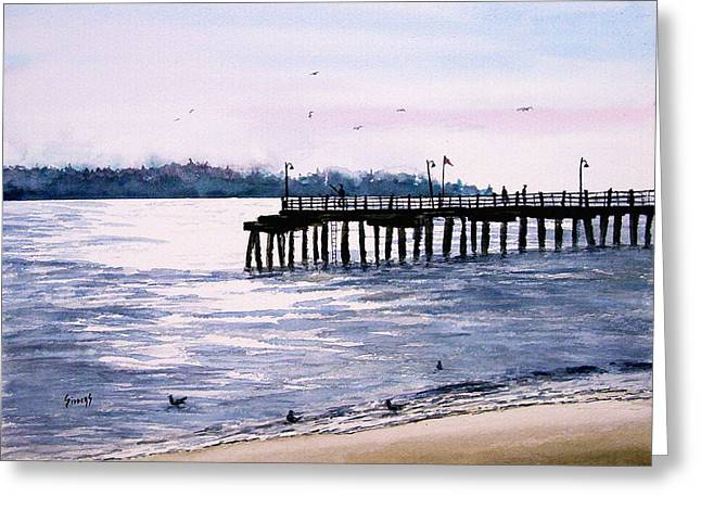 Simon Greeting Cards - St. Simons Island Fishing Pier Greeting Card by Sam Sidders