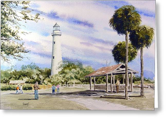 Simon Greeting Cards - St. Simons Island Lighthouse Greeting Card by Sam Sidders