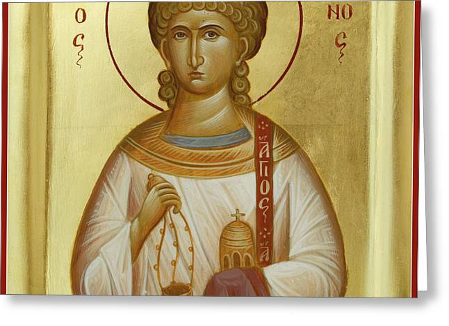 St Stephen the First Martyr and Deacon Greeting Card by Julia Bridget Hayes