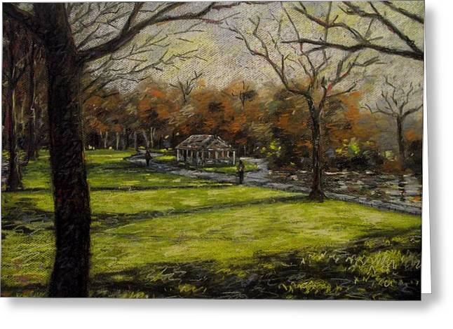 Textured Pastels Greeting Cards - St. Stephens Green Dublin Greeting Card by John  Nolan
