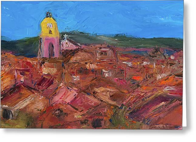 Van Gogh Style Paintings Greeting Cards - St. Tropez Greeting Card by Dan Castle