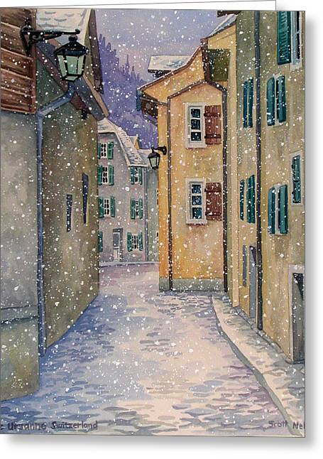 Scott Nelson Paintings Greeting Cards - St Ursanne in Snow Greeting Card by Scott Nelson