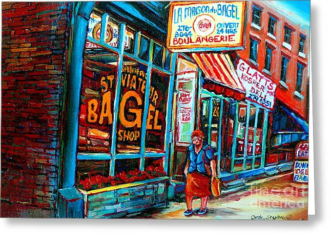 Prince Arthur Street Greeting Cards - St. Viateur Bagel Bakery Greeting Card by Carole Spandau