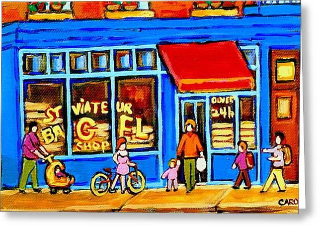 Bagel Shops Greeting Cards - St. Viateur Bagel Summer In Montreal Near Park Avenue Montreal City Scene Greeting Card by Carole Spandau