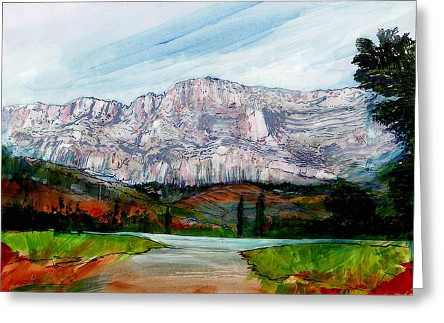 South Of France Mixed Media Greeting Cards - St Victoire Landscape Greeting Card by David Bates