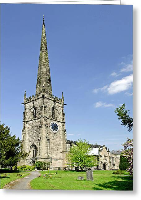 Churchyard Greeting Cards - St Wystans Church - Repton Greeting Card by Rod Johnson