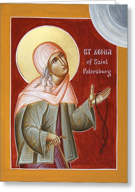 Orthodox Paintings Greeting Cards - St Xenia of St Petersburg Greeting Card by Julia Bridget Hayes